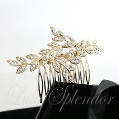 Gold Bridal Hair Comb Leaf with Crystal Leaves Vintage Comb Hair Piece Wedding Hair Accessory NEVE CLASSIC
