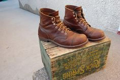Red Wing Iron ranger boots by Red Shoes, Me Too Shoes, Wing Shoes, Leather Men, Leather Shoes, Coolest Shoes Ever, Red Wing Iron Ranger, Velcro Shoes, Red Wing Boots