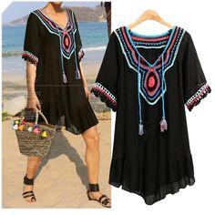 ZJ-PNARL Beach Bohemian Women Dresses Casual Summer Dress V-neck Short Sleeve Patchwork Lace Bandage Dress
