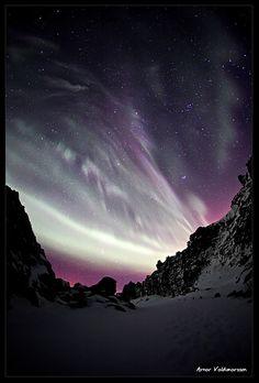 Purple Aurora Borealis, Þingvellir National Park, Iceland