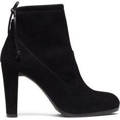 Stuart Weitzman Black Suede Mitten Boots as seen on Gigi Hadid