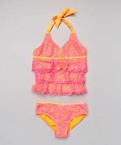 Neon Pink Crochet Ruffle Tankini - Kids & Tween