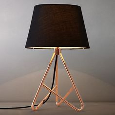John Lewis Albus Twisted Table Lamp - classic and modern design, love the copper/rose gold. Luminaria Diy, Contemporary Table Lamps, Modern Table, Modern Desk, Brass Lamp, Copper Bedside Lamp, Copper Lampshade, Copper Table Lamp, Bedroom Lamps