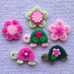 Felt appliqués turtles and flowers set of 6 by Lucismiles on Etsy, $6.90