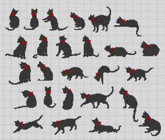 Cat Cat Cross Stitches, Cross Stitch Borders, Cross Stitch Samplers, Cross Stitch Animals, Cross Stitch Charts, Cross Stitch Designs, Cross Stitching, Cross Stitch Patterns, Beaded Cross Stitch
