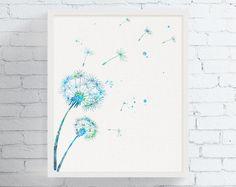 Watercolor Dandelion, Dandelion Art Print, Dandelion Wall Decor, Floral Wall Art, Nature Decor, Flower Print, Beedrom Art, Bathroom Art