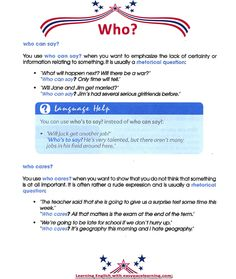 'Who' in the collocations.