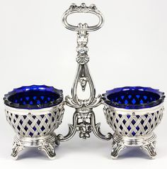 Antique French Sterling Silver  Cobalt Glass Double Open Salt, Sweet Meats Stand