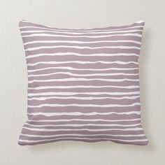 Mauve Whimsical Hand-Drawn Irregular Stripes Throw Pillow | Zazzle.com Purple Throw Pillows, Decorative Cushions, Shades Of Purple, Free Sewing, Custom Pillows, Home Decor Accessories, Mauve, Whimsical, How To Draw Hands