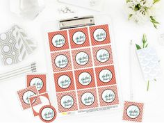 Printable 40 and Fabulous Birthday, 40th Birthday Coral Cupcake Toppers and Gift Tags by Sunshinetulipdesign