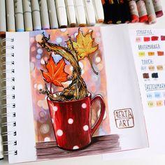 🔹a cup of autumn 🍂🍁 -------------------------------- 🔹Я поняла, что перемудрила со скетчем только тогда, когда он был уже готов. Надеюсь,… Fall Drawings, Copic Drawings, Pretty Drawings, Beautiful Drawings, Sketchbook Project, Art Sketchbook, Autumn Illustration, Copic Art, Art Folder