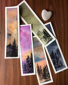 Watercolor Bookmarks, Watercolor Cards, Watercolour Painting, Painting & Drawing, Watercolors, Creative Bookmarks, Diy Bookmarks, Diy Marque Page, Bookmark Craft