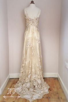 Joanne Fleming Design: 'Lotis', a flower strewn lace wedding gown fit for a woodland nymph.....