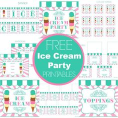 FREE Ice Cream Party Printables from Printabelle - Perfect for Summer! Ice Cream Theme, Ice Cream Parlor, Sundae Party, 2nd Birthday Parties, Summer Birthday, Birthday Ideas, Oh My Fiesta, Party Printables, Free Printables