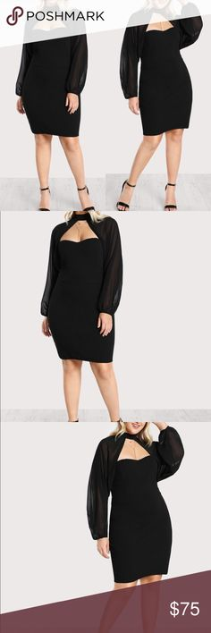 ➕🆕Black sheer sleeve plus choker sheath dress Measurements see chart above Fabric has some stretch  Sweetheart neckline  🛍🛍Shop with confidence....I am a Poshmark ambassador, top rated seller, posh and sip host, and two time Poshmark party cohost. Bundle for best discounts. Check back often as new boutique items are added daily. Size not available? Leave a message and if it's available with my wholesale vendors I will order for you at no additional cost🛍🛍 Dresses
