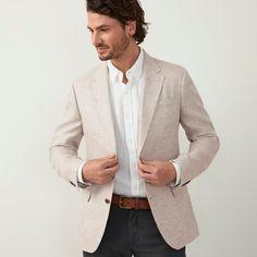 Tan Blazer Mens, Blazer With Jeans Men, Tan Blazer Outfits, Cream Blazer Outfit, Fall Outfits, Linen Suit, Linen Blazer, Blazer Creme, Formal Men Outfit