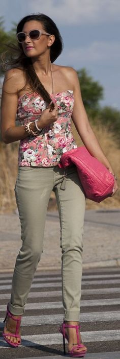 Green Pants And Flower Top. I would probably pair it with flats instead, though.
