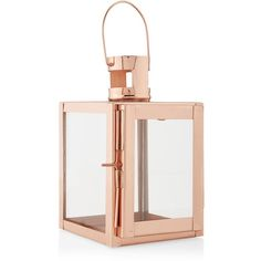 New Look Rose Gold Lantern found on Polyvore featuring polyvore, home, home decor, candles & candleholders, rose gold home decor, rose gold candle and rose gold home accessories