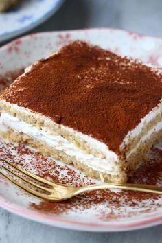 This Gluten-Free Vegan Tiramisu is aromatic, super creamy and much healthier than the traditional version! Refined sugar free. Fluffy sponge, boozy coffee and creamy vegan mascarpone.