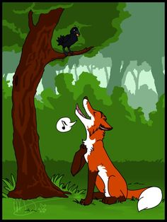 Aesop's Fables: The Fox and the Crow by kibaandme