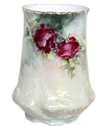 Antique Silesia Hand Painted Roses Vase-Tielsch & Co,german,floral,pink,white,Victorian