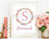 Custom Baby Girl Name Floral Letter Wall Printable Digital Nursery Print