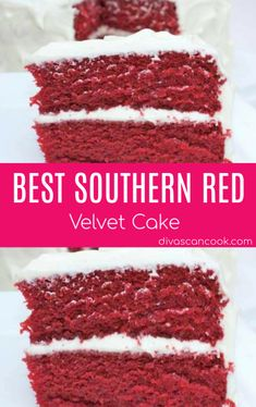 The BEST Red Velvet Cake Recipe with Sweet Cream Cheese Frosting. Tips and tricks for making perfect red velvet cake. How to make homemade red velvet cake. Southern Red Velvet Cake, Best Red Velvet Cake, Red Velvet Cake Moist, Homemade Red Velvet Cake, Red Velvet Recipes, Red Celvet Cake, Red Velvet Icing, Best Red Velvet Recipe, Red Velvet Birthday Cake