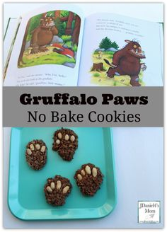 Superstars Which Are Helping Individuals Overseas No Bake Cooke Guffalo Paws - Kids Will Love Helping You Bake These Cookies Based On A Favorite Book. They Would Be Fun To Make To Snack On While Reading The Book. Gruffalo Activities, Gruffalo Party, Gruffalo Eyfs, Book Activities, Preschool Activities, Babysitting Activities, The Gruffalo, Preschool Lessons, Kids Cooking Party