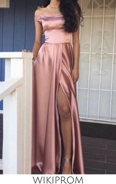 prom dresses 2019 prom dresses fashion pink off the shoulder prom dress sexy slit evening dress, This dress could be custom made, there are no extra cost to do custom size and color Split Prom Dresses, Prom Dresses Long Pink, Blush Prom Dress, Best Prom Dresses, Elegant Prom Dresses, Prom Dresses With Sleeves, Formal Dresses For Women, Formal Evening Dresses, Beautiful Dresses