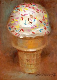 Vanilla Ice cream Cone - Dessert 7 x5 Original Oil on panel HALL GROAT II, painting by artist Hall Groat II