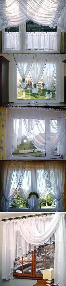 Formalizamos la ventana en la cocina: las cortinas fáciles blancas - Aprendemos a Hacer Todo // Людмила Коренных Curtains With Blinds, Home Curtains, Windows, Window Decor, Drapes Curtains, Curtains, Curtain Styles, Kitchen Window Curtains, Shabby Chic Kitchen