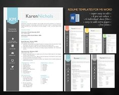 Modern style 2 in 1 Word resume by Inkpower on @creativemarket