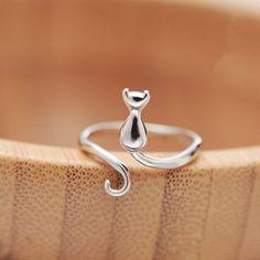 Cat Jewelry, Jewelry Gifts, Women Jewelry, Jewelry Ideas, Jewelry Design, Unique Jewelry, Cat Ring, Animal Rings, Silver Cat