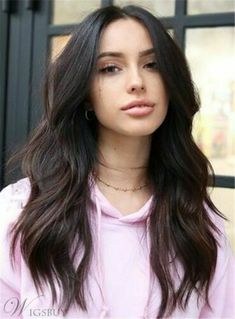 Natural Looking Women's Middle Part Wavy Synthetic Hair Wigs High Dens – wigsiu Black Ponytail Hairstyles, Top Hairstyles, Black Women Hairstyles, Braided Hairstyles, Glamorous Hairstyles, Middle Part Hairstyles, Brunette Hairstyles, Brown Hair Trends, Styles Courts
