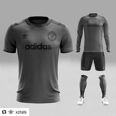 All black everything: Manchester United x Adidas concept kit @xztals @manchesterunited x @adidas 2018/19 triple black Away kit concept. Nike Soccer Jerseys, Football Uniforms, Soccer Kits, Football Kits, Manchester United, Sports Team Apparel, American Football Jersey, Fantasy Football, American Football
