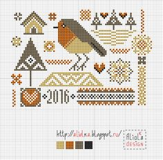 My tvorilki *** Aliolka design: New bird sampler with Robin.
