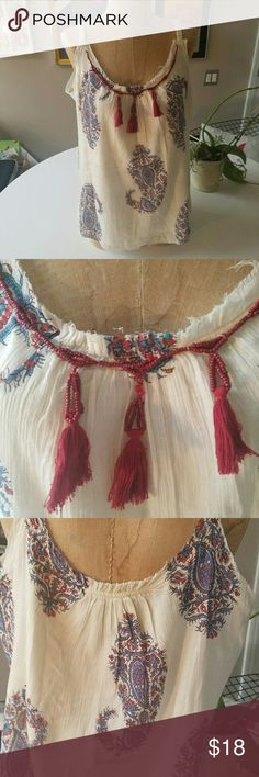 Peter Dunham for Lucky gauzy boho tank Beautiful tank with boho paisley design and beading and tassels at the neckline. Fully lined. Adjustable straps.Excellent condition.  L. Lucky Brand Tops Tank Tops