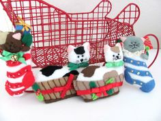 Vintage Christmas Cat Ornaments Bucilla Felt by ThirstyOwlVintage