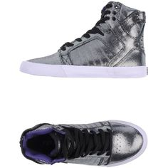 Supra High-Tops & Trainers ($38) ❤ liked on Polyvore featuring shoes, sneakers, high tops, silver, round toe sneakers, supra sneakers, genuine leather shoes, supra footwear and leather trainers