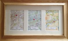 Met Engaged Married Map. 1st year wedding anniversary gift.