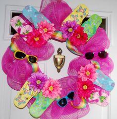 Wow colorful flip flop wreath