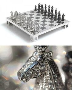 The $500,000 Charles Hollander Royal Diamond Chess Set is made entirely out of 14 carat white gold and 9900 black and white diamonds. The set took over 4500 hours of intricate hand-work, completed by thirty craftsmen, under the direction of Maquin.