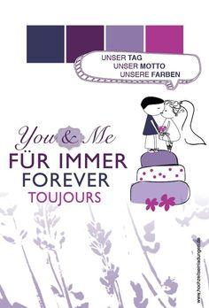 Hochzeit. You & me forever! Violett, Lavendel und Ihr(e) Liebste(r) lässt Ihr Herz höher schlagen? Perfekt und für immer!  http://www.hochzeitseinladungen.de/hochzeit/kartengalerien/romantisch-floral/action/show/card/DEA005A.html?q=lavendel