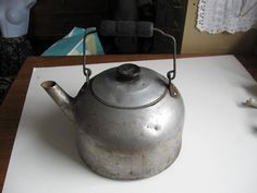 Vintage Aluminum Kettle with Wooden Handle by jonscreations