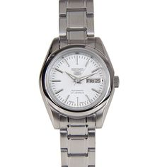 Seiko 5 Sports Automatic Ladies Watch :Silver dialSilver tone hands and markersStainless steel case and braceletDay and date JewelsWater resistantApproximate measurements:Case diameter: (including crown) INTERNATIONAL WARRANTY Seiko 5 Sports Automatic, Seiko Automatic, Chronograph, Young Fashion, Seiko Watches, Casual Watches, Watch Brands, Sport Watches, Lady