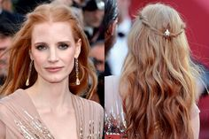 Jessica Chastain's Half-Up Romantic Twists with barrette, brown smoky eye and mauve lipstick