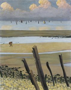 Félix Vallotton (Swiss, 1865-1925), Marée basse à Villerville [Low tide at Villerville], 1922.