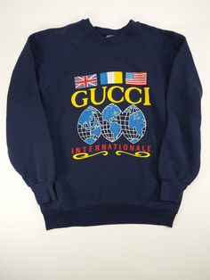 Vintage GUCCI Internationale Logo Sweatshirt 80s Hip Hop Old School L M Navy in Clothing, Shoes & Accessories, Vintage, Men's Vintage Clothing, 1977-89 (Punk, New Wave, 80s), Coats, Jackets, Sweaters | eBay