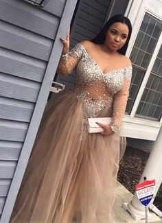 Sexy Champagne Plus Size Off-the-Shoulder Long Sleeves Prom Party Dress with Rhinestone,Beading dress,