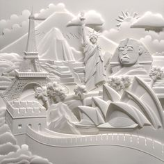 """World Landmarks"" - paper art by Jeff Nishinaka"